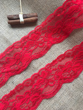 Red Soft Stretch Scalloped Nottingham Lace 7 cm/2.5""