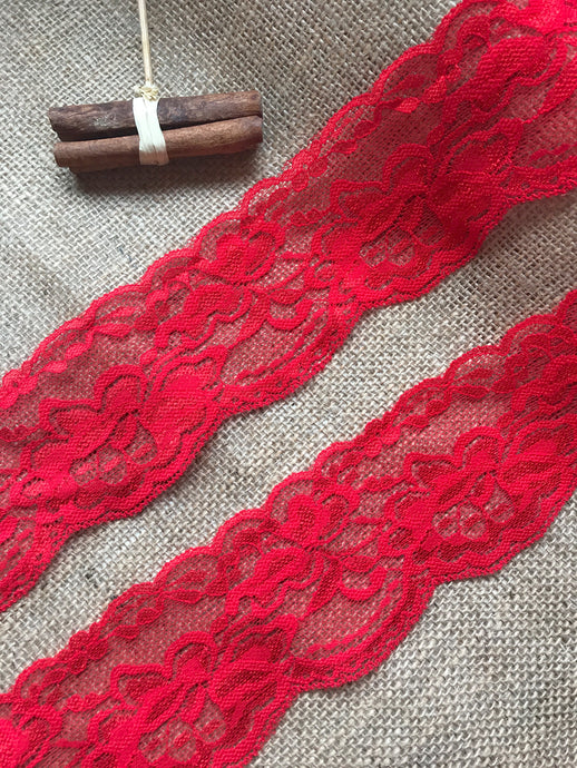 Red Soft Stretch Scalloped Nottingham Lace 7 cm/2.5