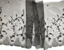 Grey, Black & Silver Metallic Embroidered Tulle Lace 24 cm/9.5""