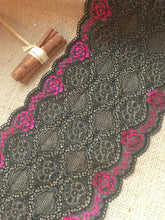 Black Pink Ombre Metallic Stretch Lace Trim 16 cm/6.5""