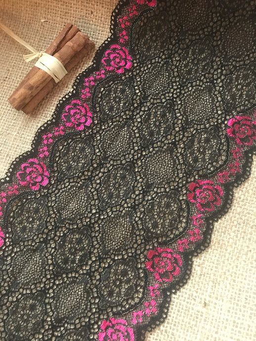 Black Pink Ombre Metallic Stretch Lace Trim 16 cm/6.5