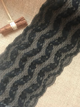 Black Stretch 'Wave' Lace Trim 18 cm/7""