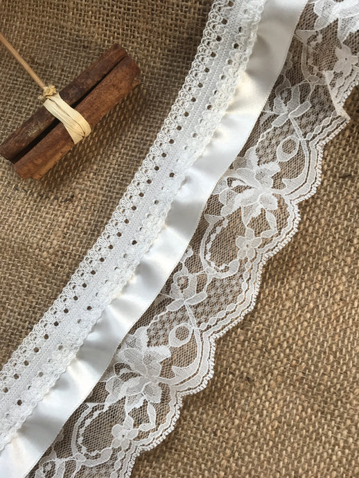 """Ivory Lace Dainty Embroidered Tulle 9 cm//3.5/""""  Craft Bridal Trim  Wedding"""