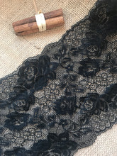 "Beautiful Black Floral Delicate Lace Trimming 6.5""/17 cm"