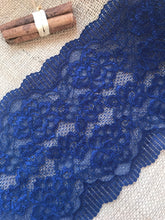 Mid Navy Blue Soft Wide Floral Stretch Scalloped Lace Trim 17 cm/7""