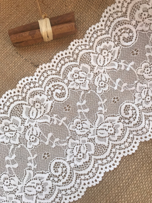 Premium Ivory Stretch French Lace   15.5 cm/6