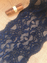 Navy Blue Soft Stretch Lace 17 cm/6.75""