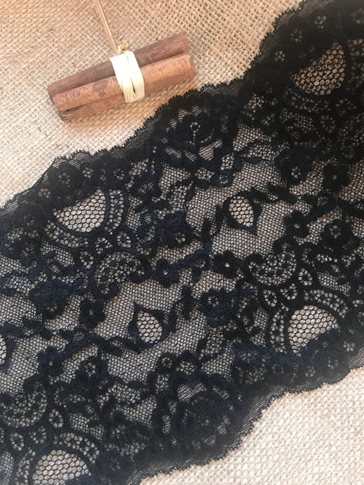 Black Soft Stretch Lace 17 cm/6.75