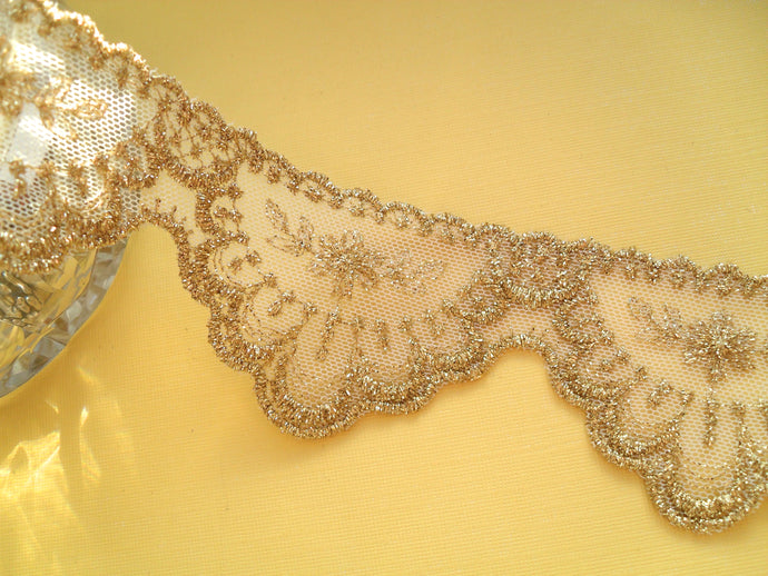 Delicate Gold Embroidered French Tulle Lace Trim 6 cm/2