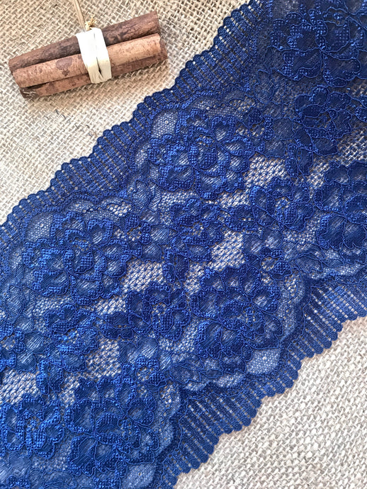 Mid Navy Blue Soft Wide Floral Stretch Scalloped Lace Trim 17 cm/7