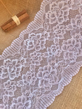 White Soft Wide Floral Stretch Scalloped Lace Trim 17 cm/7""