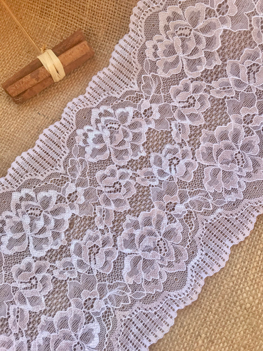 White Soft Wide Floral Stretch Scalloped Lace Trim 17 cm/7