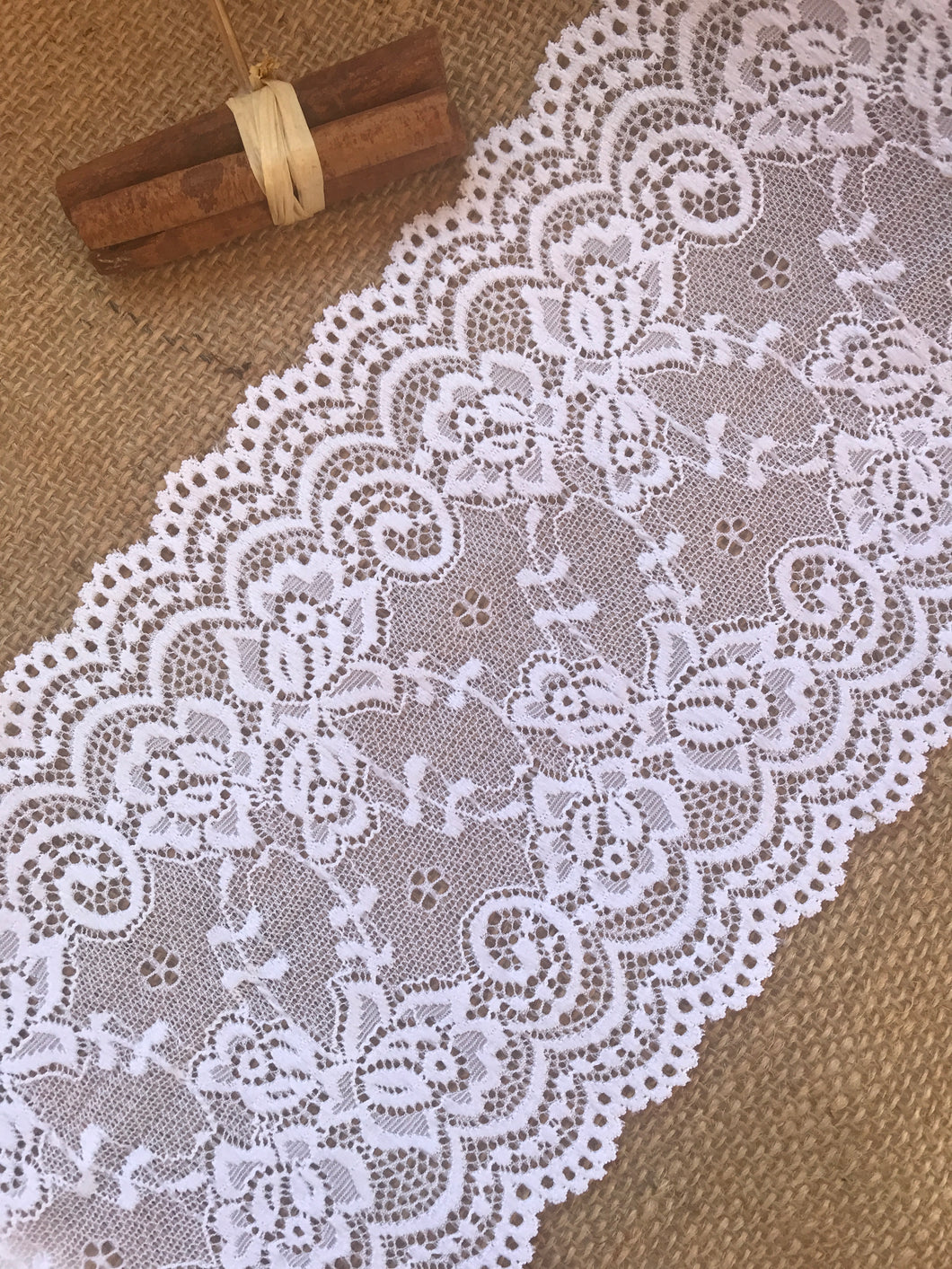 Premium White Stretch French Lace   15.5 cm/6