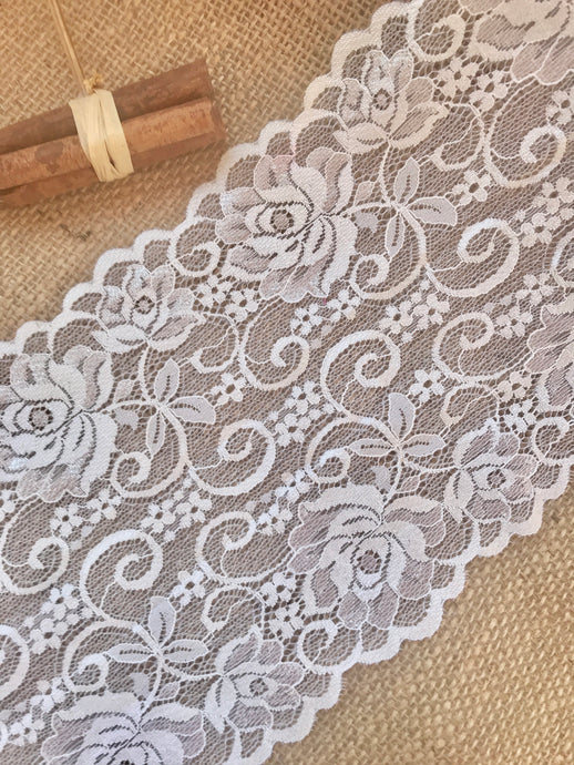 Ivory Floral Soft Scalloped Lace Wide 6.5