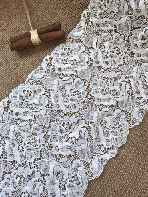 Ivory Stretch Lace 17cm/6.75