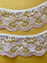 Quality Nottingham Frilled/Gathered Lace. White/Pink 2.5""