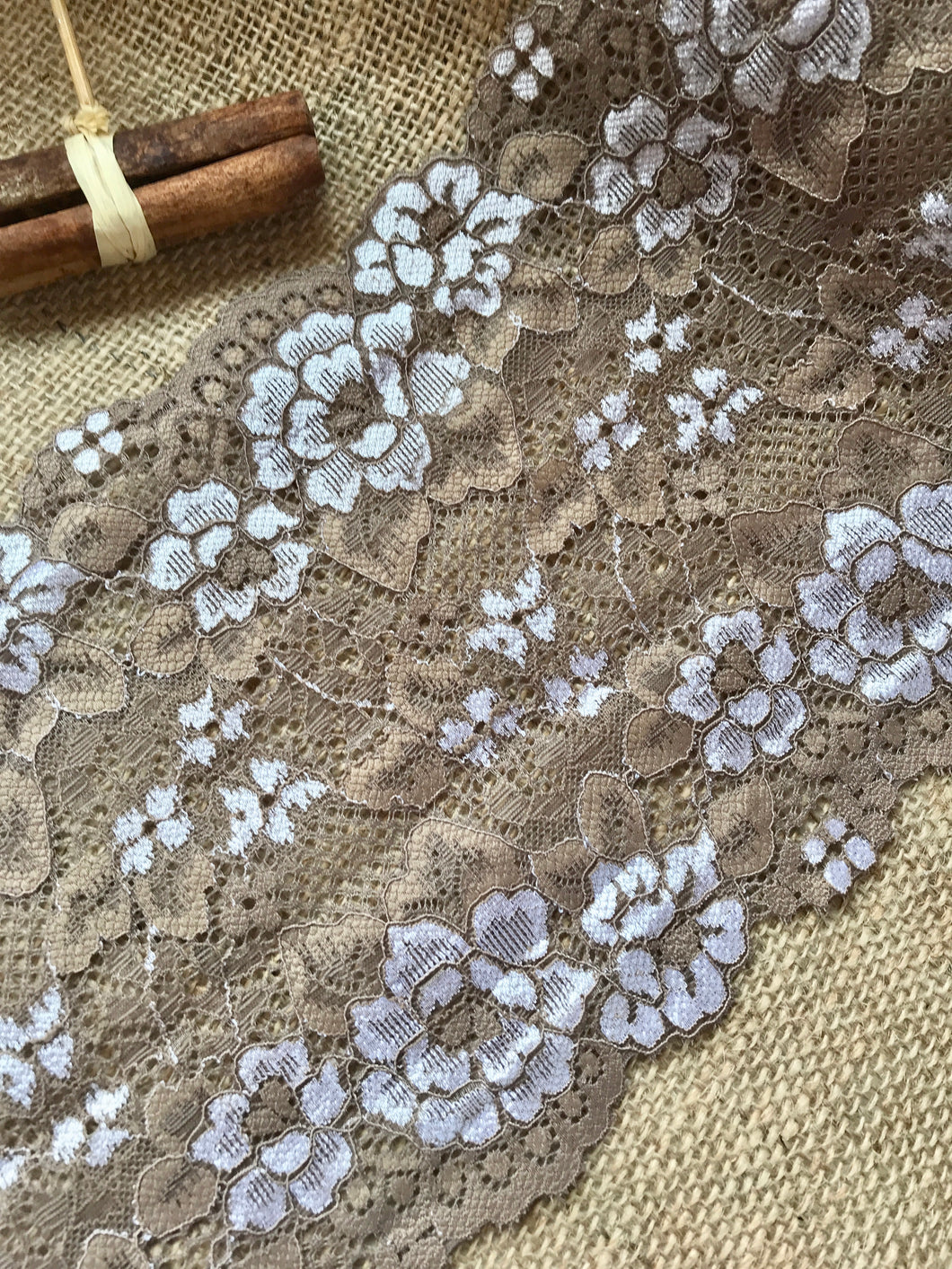 Taupe Mocha Coffee Two Tone Soft Wide Stretch Lace Trim 18 cm/7