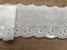 Quality Cotton White, Cream or Black  Broderie Anglaise Lace Trim 3""