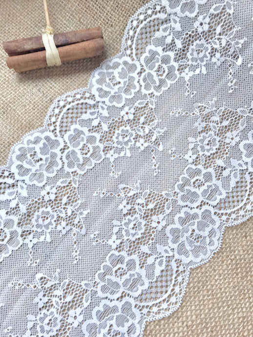 White French Soft Wide Stretch Lace Trim 18 cm/7