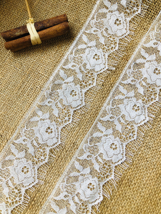 Pale Ivory Delicate Gossamer Lace with Eyelash Edges  2.5