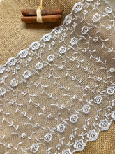 Ivory Embroidered Wide Tulle Double Scalloped Lace 22 cm/8.5""