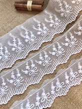 Vintage French Cotton Tulle Lace Trim  White or Ivory Lace 6 cm/2/4""