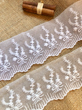 Vintage French Cotton Tulle Lace Trim  White or Ivory Lace 8 cm/ 3""