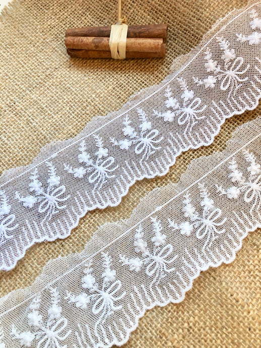 Vintage French Cotton Tulle Lace Trim  White or Ivory Lace 6 cm/2/4