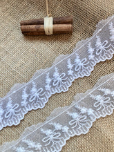 Vintage French Cotton Tulle Lace Trim  White or Ivory Lace 4 cm/1.6""