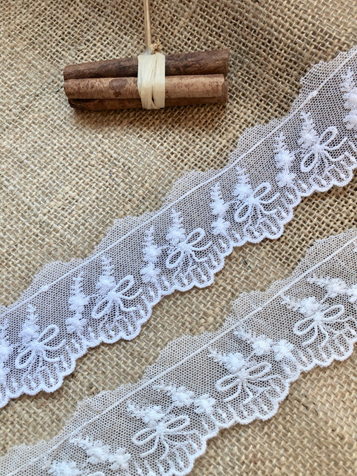 Vintage French Cotton Tulle Lace Trim  White or Ivory Lace 4 cm/1.6