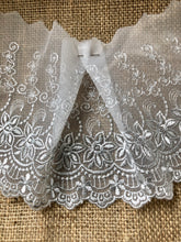 Grey Embroidered Voile Scalloped Lace 15 cm/6""