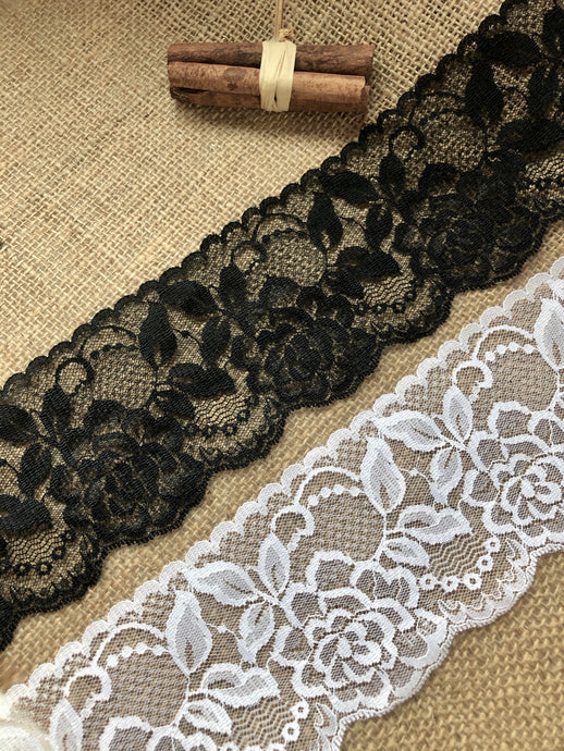 Beautiful White or Black Nottingham Scalloped Lace  9cm/3.25