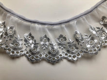Silver Grey Embroidered Voile Gathered  Lace Trim 6 cm/2.25""