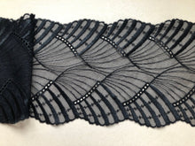 Black Embroidered Stretch Tulle Lace 11.5 cm/ 4.5""