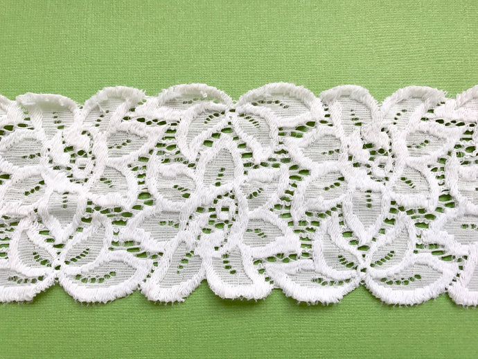 ivory Soft Stretch Scalloped French Lace 3