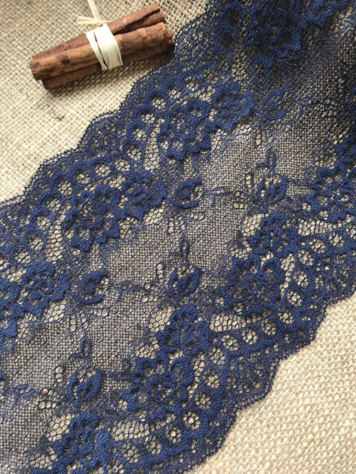 Navy Blue Delicate Clipped Lace Wide 7.5