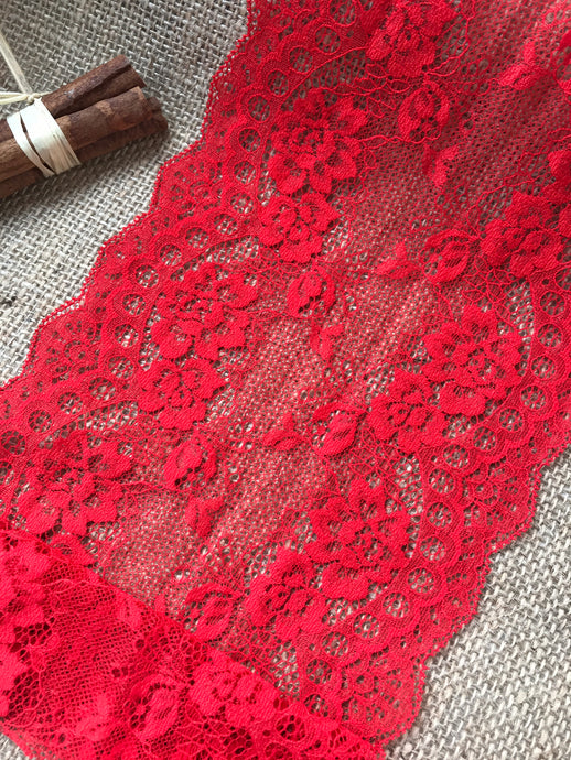 Red Delicate Clipped Lace Wide 7.5