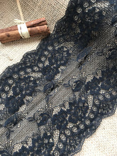 "Black Delicate Clipped Lace Wide 7.5""/19 cm"