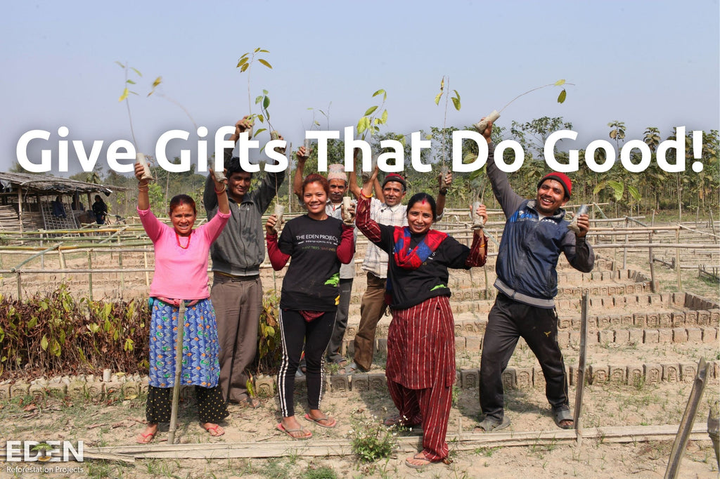 Give gifts that do good image, featuring tree planting workers in Nepal