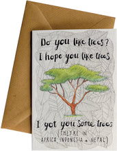 "Front of BAMWOO's ""Do you like trees?"" gift card"