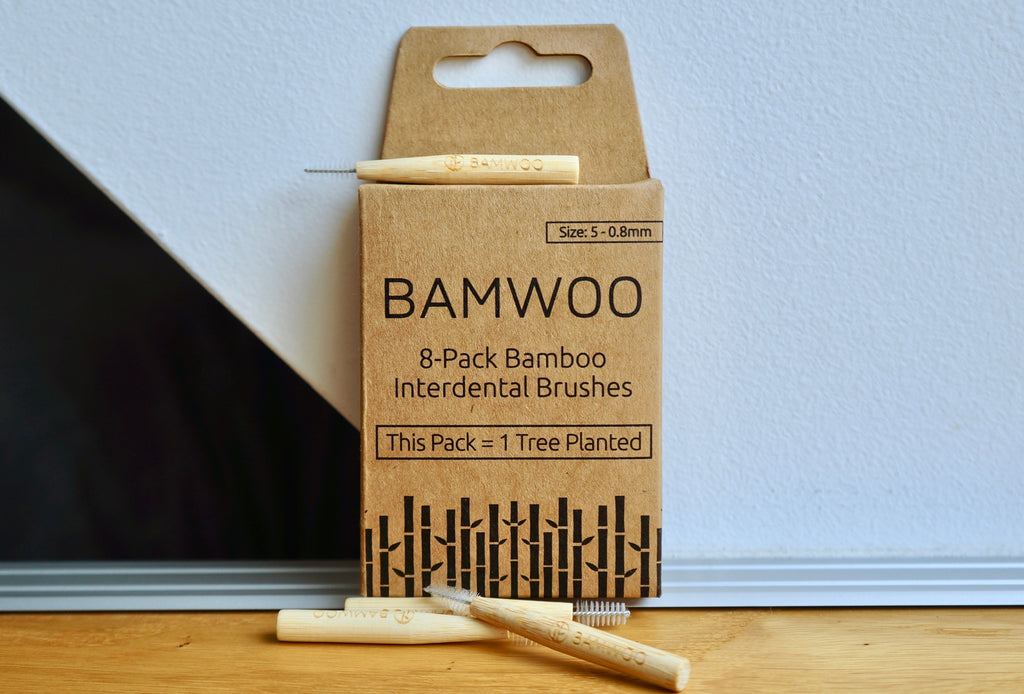 A pack of BAMWOO's bamboo interdental brushes