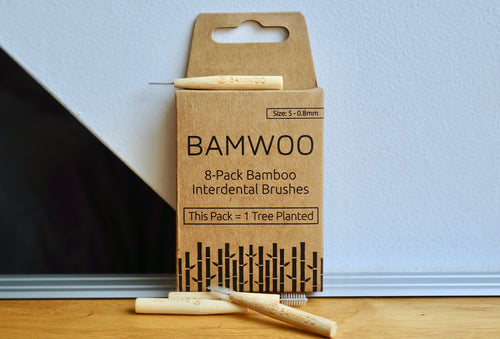 A pack of BAMWOO's eco-friendly bamboo interdental brushes