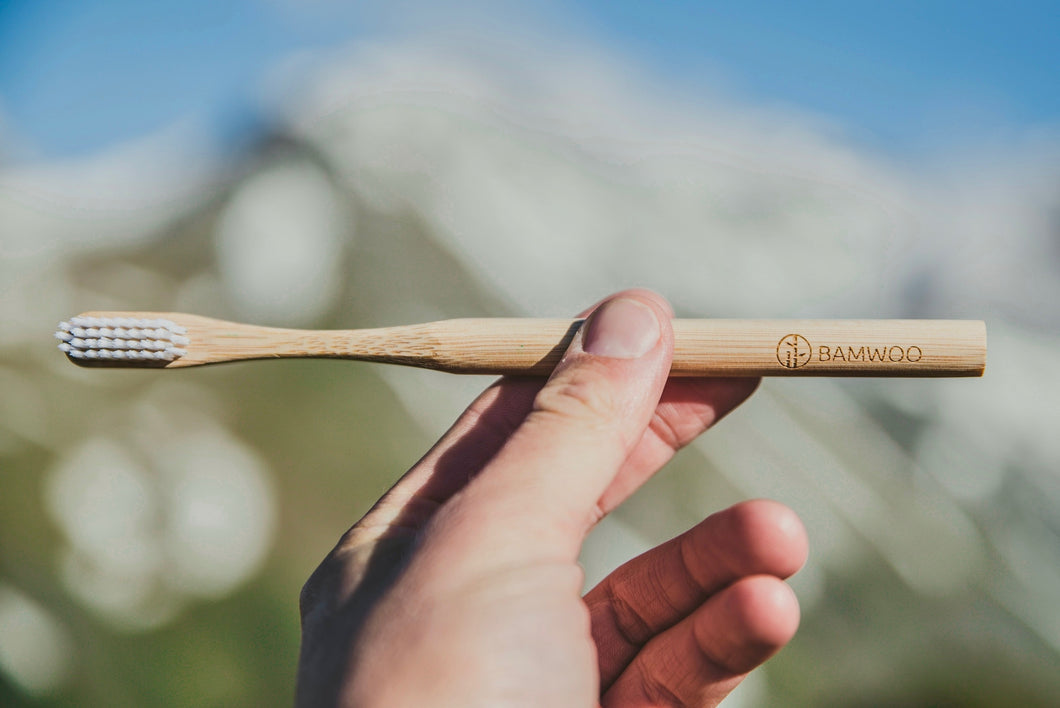 A BAMWOO bamboo toothbrush held up in front of a mountain on a hiking trip in the Austrian Alps