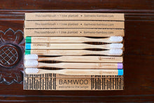 Multi coloured Year's Supply 6 pack of BAMWOO's bamboo toothbrushes