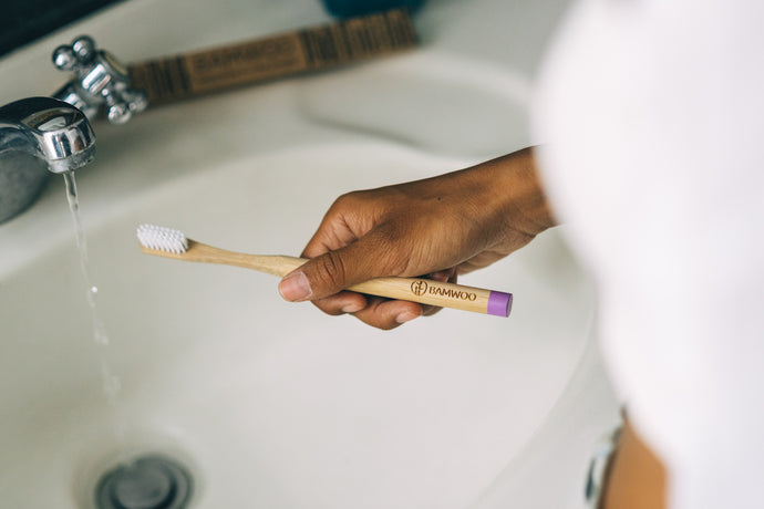 BAMWOO biodegradable bamboo toothbrush in purple