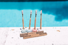 Four BAMWOO bamboo toothbrushes standing upright in ceramic toothbrush holders