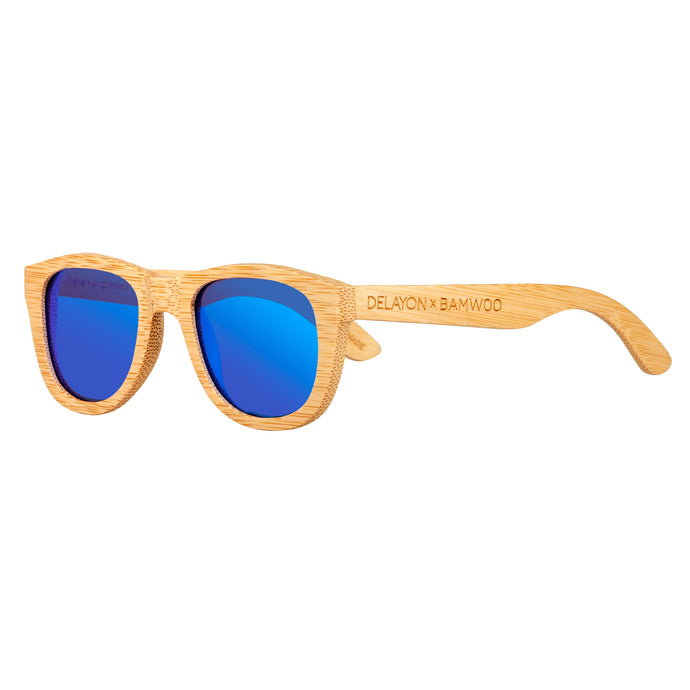 Eco Bamboo Jungle Sunglasses from BAMWOO x DELAYON in light bamboo colour with space blue polarised lenses