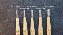 The different sizes of bristles available in BAMWOO's bamboo interdental brushes