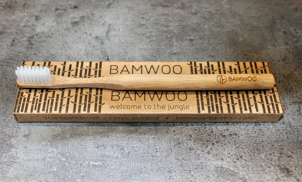 BAMWOO biodegradable bamboo toothbrush in au naturel colour