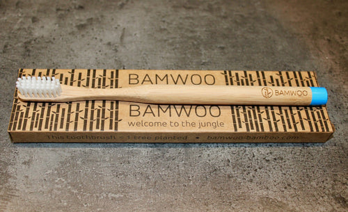 BAMWOO biodegradable bamboo toothbrush in ocean blue colour